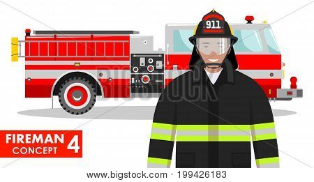 Detailed illustration of fireman and fire truck in flat style on white background.