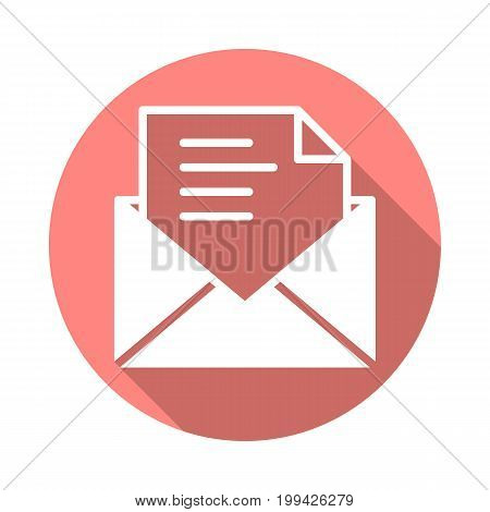 Email, message flat icon. Round colorful button, circular vector sign with long shadow effect. Flat style design