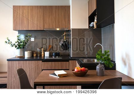 Kitchen Interior Design Architecture with Dining table.