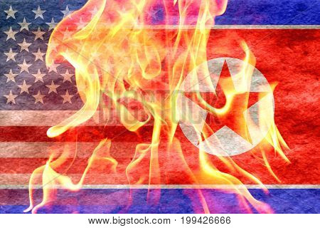 North korean flag fading into american flag with flames in front