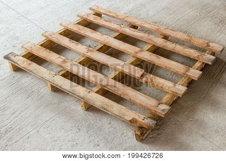 Pallets wood on floor concrete in site consrtuction