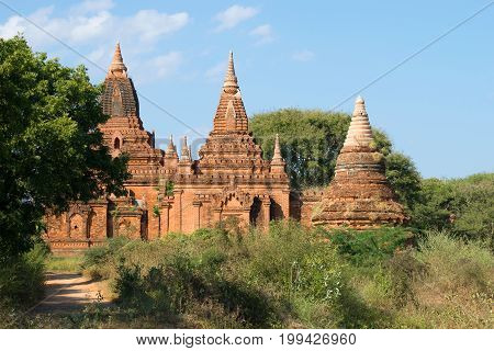 A sunny day at the ancient Buddhist temple of Tha Kya Pone. Bagan, Burma