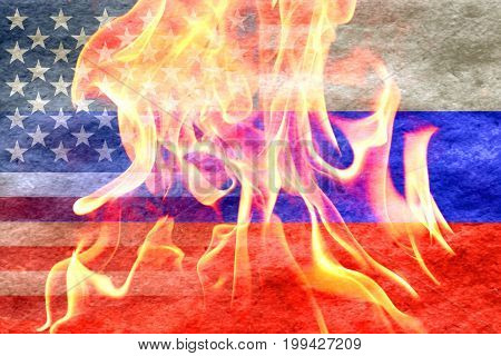 Russian flag merging with an american flag and a fire in front
