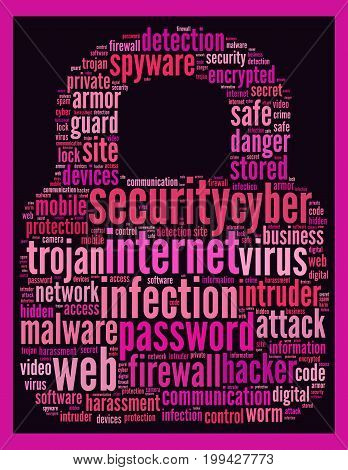 Security internet wordcloud text concept over dark background