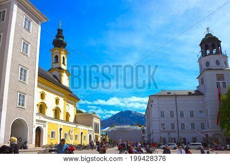 Salzburg, Austria - May 01, 2017: Central place in Salzburg city , Austria at Salzburg, Austria on May 01 2017