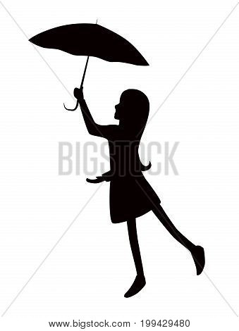 silhouette girl girl with umbrella. vector illustration. editable layers