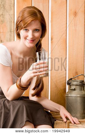 Young Woman Drink Natural Milk Country Healthy