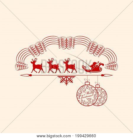 Emblem with Christmas balls and with Santa Claus in a cart for deer