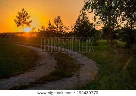 colorful autumn sunset in the countryside with a road
