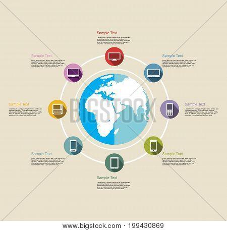 Infographics elements. Information technology background. Internet technology.