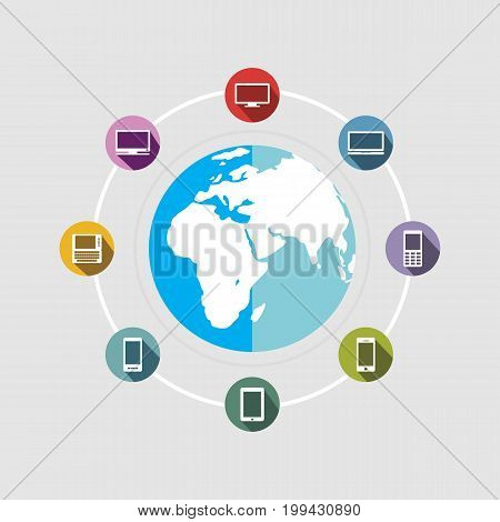 Internet connection. Wide communication. Information Technology background.