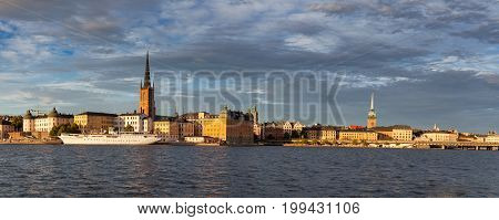 Beautiful view to Stockholm and Gamla Stan old town in sunset, Sweden