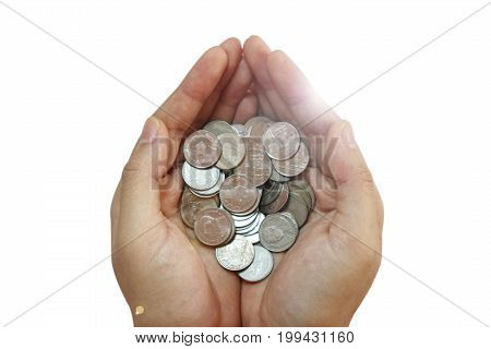The woman hand holding coins for saving