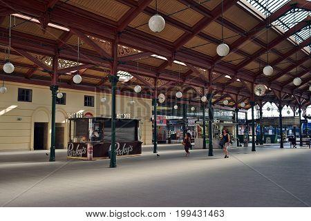 Prague Czech Republic-6 August 2017: Hall of Old Masaryk Station in Prague