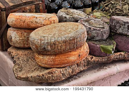 sheep milk cheese from Sardinia, Italy, on a piece of cork - traditional artisan food product in Italian market