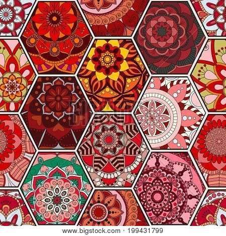 Luxury Oriental Tile Seamless Pattern. Colorful Floral Patchwork Background. Mandala Boho Chic Style