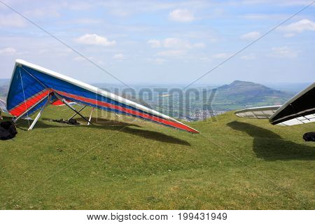 Hang Gliders on the Blorenge prepared to fly