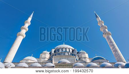 Exterior low angle day shot of domes Suleymaniye Mosque. An Ottoman imperial mosque located on the Third Hill of Istanbul Turkey and the second largest mosque in the city. built in 1557