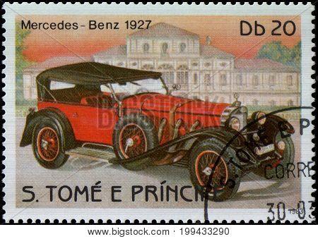 S.TOME E PRINCIPE - CIRCA 1983: A stamp printed in S.TOME E PRINCIPE shows image of the retro car Mercedes-Benz 1927 year of release