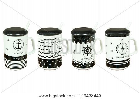 Ceramic travel cup on white background isolation