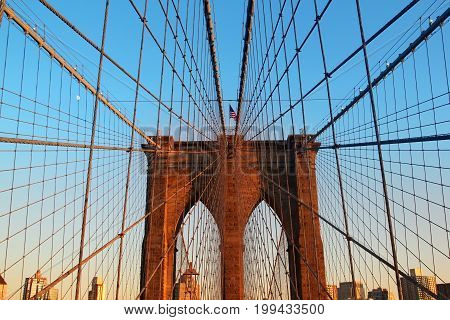 Brooklyn bridge at sunset. New York City