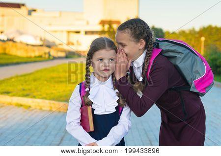 Senior schoolgirl speaks younger junior student secret in park on street