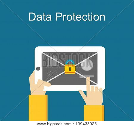 Data protection concept. Access protection. Locked phone