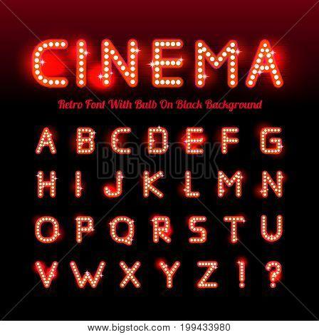 Retro cinema font. Vector illustration on black background.