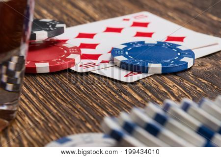 Set for playing poker on a wooden old table