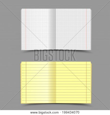 Open different empty school notebook with shadow on gray background. Education copybook in a line and in a cage for writing lessons tasks exercises