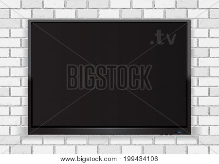 TV hanging on white wall background. Flat modern ecomputer monitor or digital plasma television device. Electronic media equipment