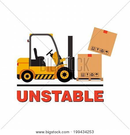 Vector forklift truck moving dropping cardboard boxes. Isolated flat stock illustration icon loader