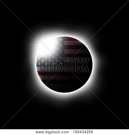 Solar or Lunar eclipse and american flag . Vector .