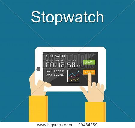 Stopwatch mobile application user interface on gadget. Digital stopwatch