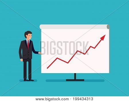 Business Man holding whiteboard - presentation flat style cartoon. Vector illustration