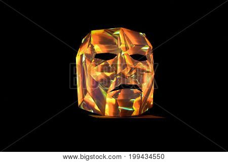 Multi Color Light Painted Mask As Art Installation