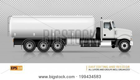 Tanker truck vector template for car branding and advertising. White fuel semi-truck on transparent background. All layers and groups well organized for easy editing and recolor. View right side.
