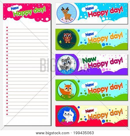 Organize and Schedule with Notes and To Do List. Text Happy New Day. Vector. Isolated