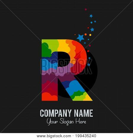 Rockline Letter R Logo Template Design Vector. Iridescent color solution. Isolated on a black background.