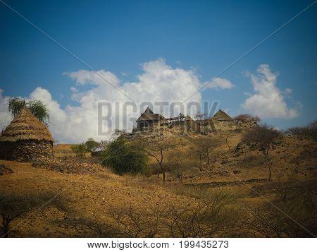 View to Bilen aka Bogo or Agaw tribe village Keren Anseba regionEritrea