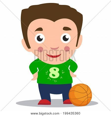 cartoon basketball player is moving dribble with a smile. Vector illustration