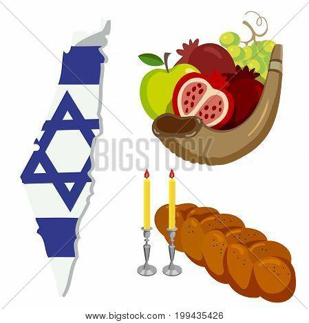 Rosh Hashanah, Shana Tova flat vector icons set. Isolated on white background. vector illustration