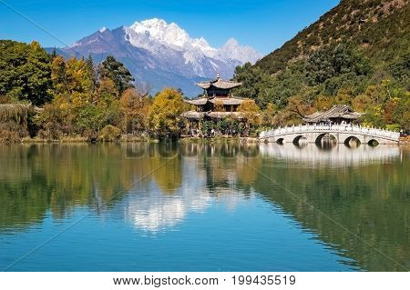Black Dragon Pool Park Lijiang travel destination in Yunnan China