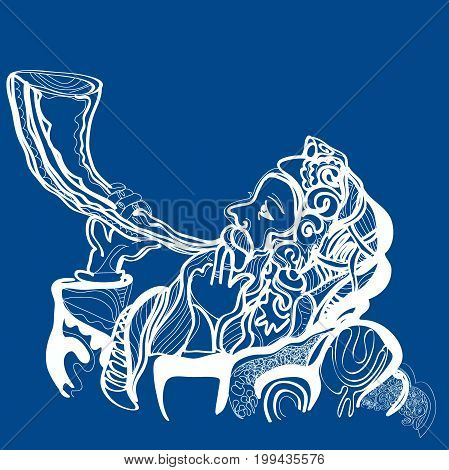 man sounding a shofar , Jewish horn. May You Be Inscribed In The Book Of Life For Good in Hebrew. vector illustration On a blue background. White and blue colors of holy Israel