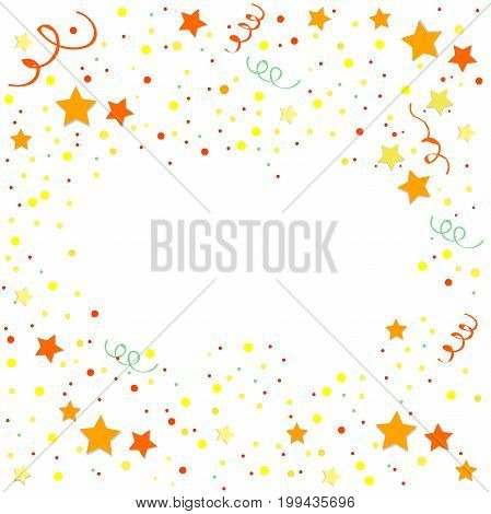 Yellow and orange Confetti. Vector Festive Illustration of Falling Shiny Confetti Glitters Isolated on White Background. Holiday Decorative Tinsel Element for Design