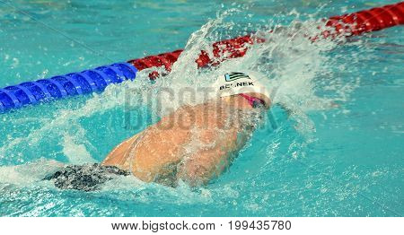 Hong Kong China - Oct 30 2016. Olympian and World Youth gold medalist Peter BERNEK (HUN) swimming in the Men's Freestyle 200m Final. FINA Swimming World Cup Victoria Park Swimming Pool.