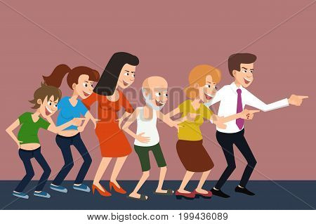 laughing croud - row of mocking characters, funny vector cartoon illustration