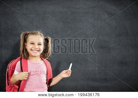 Back To School Concept Happy Smiling Schoolgirl Studying