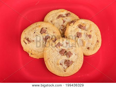 Homemade Chocolate Chip Cookies on Red Plate
