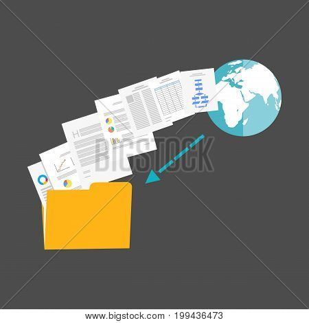 Download files from internet illustration. File sharing